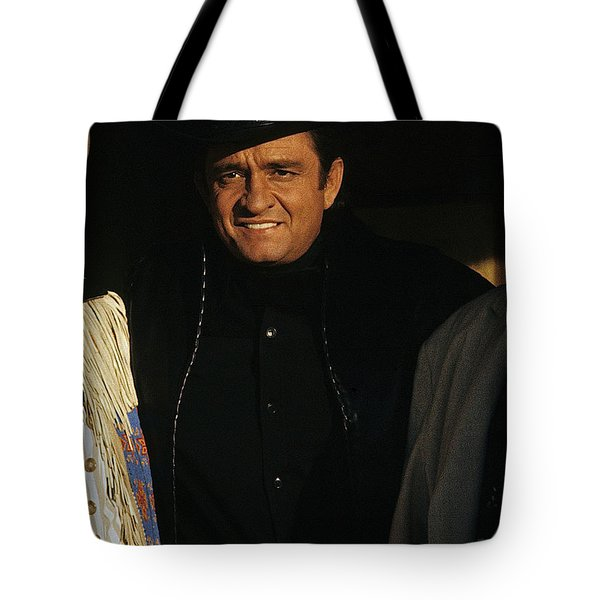 Tote Bag featuring the photograph Johnny Cash Music Homage Solitary Man Flanked By Chill Wills  Andy Devine Old Tucson Az 1971 by David Lee Guss
