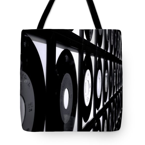 Johnny Cash Records Black And White Tote Bag