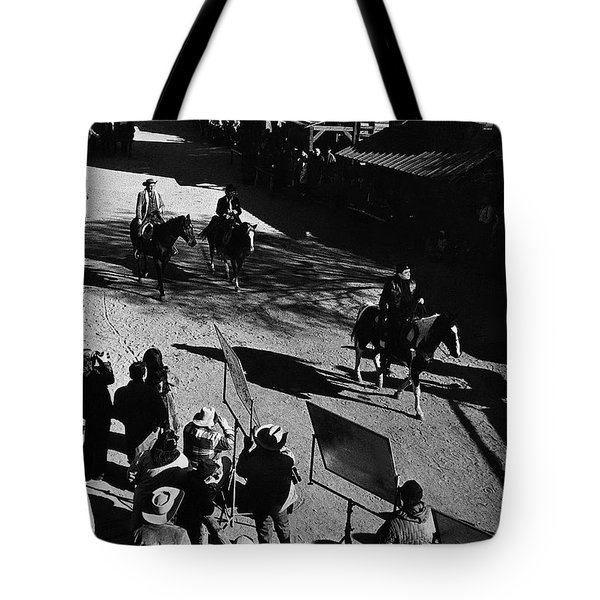 Tote Bag featuring the photograph Johnny Cash Riding Horse Filming Promo Main Street Old Tucson Arizona 1971 by David Lee Guss