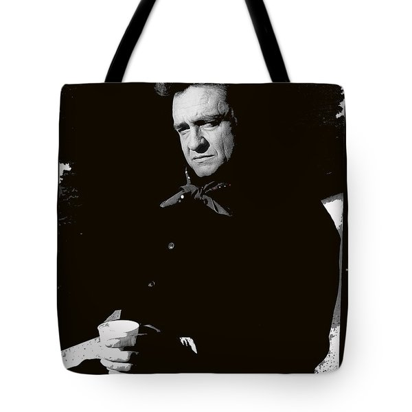 Tote Bag featuring the photograph Johnny Cash Sitting With Cup  Old Tucson Arizona 1971-2009 by David Lee Guss