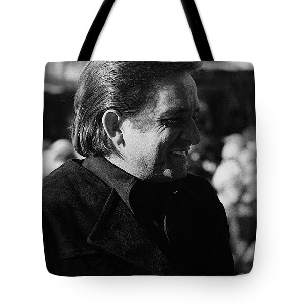 Tote Bag featuring the photograph Johnny Cash Smiling Old Tucson Arizona 1971 by David Lee Guss