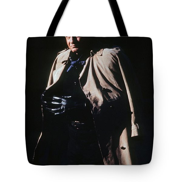 Tote Bag featuring the photograph Johnny Cash Trench Coat Old Tucson Arizona 1971 by David Lee Guss