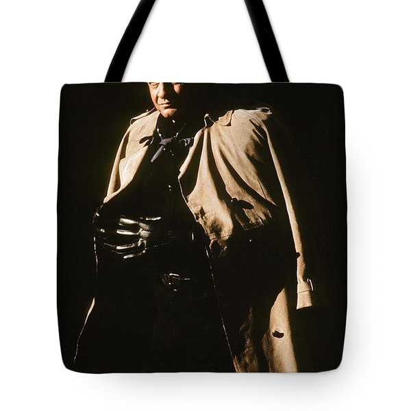 Tote Bag featuring the photograph Johnny Cash Trench Coat Variation  Old Tucson Arizona 1971 by David Lee Guss