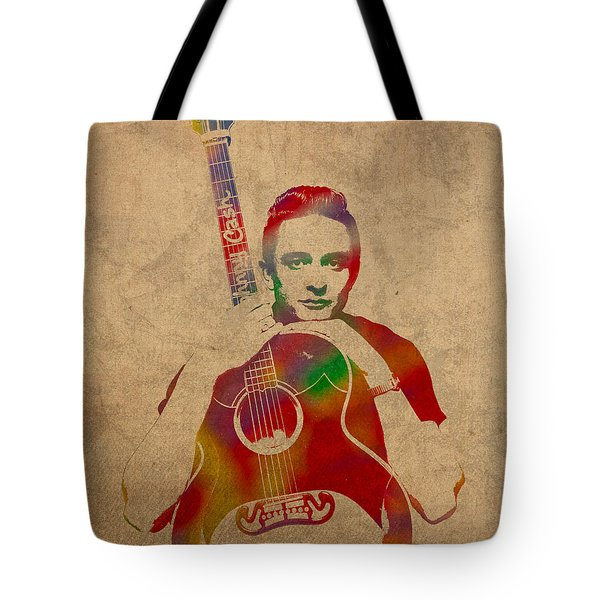 Johnny Cash Watercolor Portrait On Worn Distressed Canvas Tote Bag by Design Turnpike