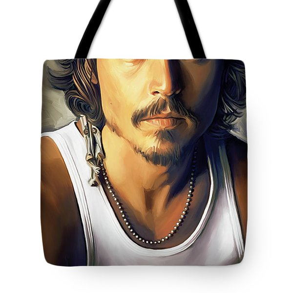 Johnny Depp Artwork Tote Bag by Sheraz A