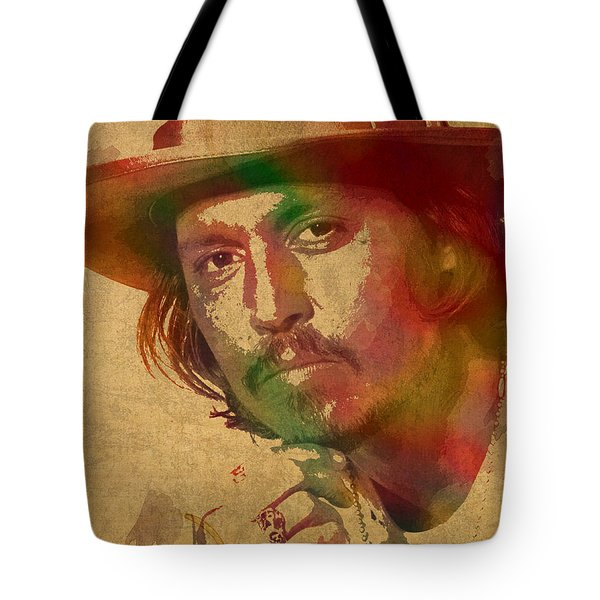 Johnny Depp Watercolor Portrait On Worn Distressed Canvas Tote Bag by Design Turnpike