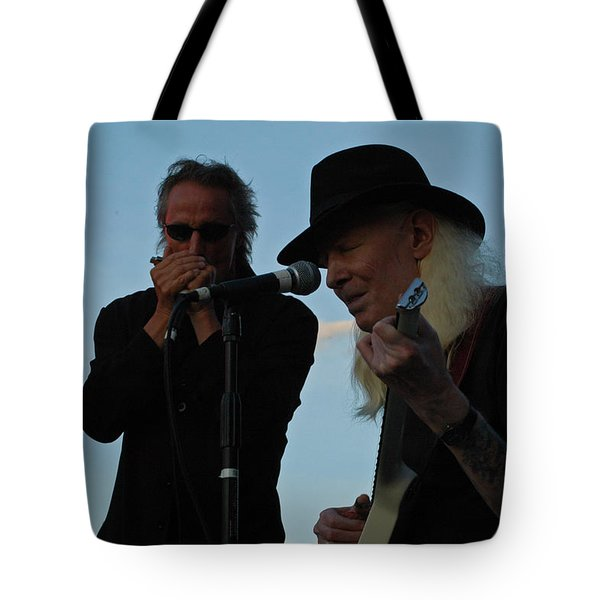 Johnny Winter And James Montgomery Playing The Blues Tote Bag by Mike Martin