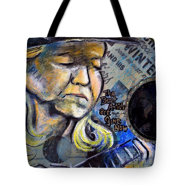 Johnny Winter Painted Guitar Tote Bag by Fiona Kennard