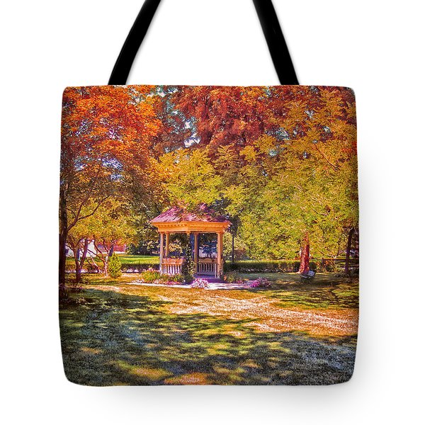 Join Me In The Gazebo On This Beautiful Autumn Day Tote Bag by Thomas Woolworth