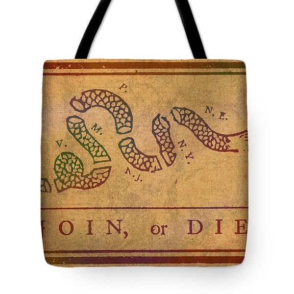 Join Or Die Benjamin Franklin Political Cartoon Pennsylvania Gazette Commentary 1754 On Parchment  Tote Bag
