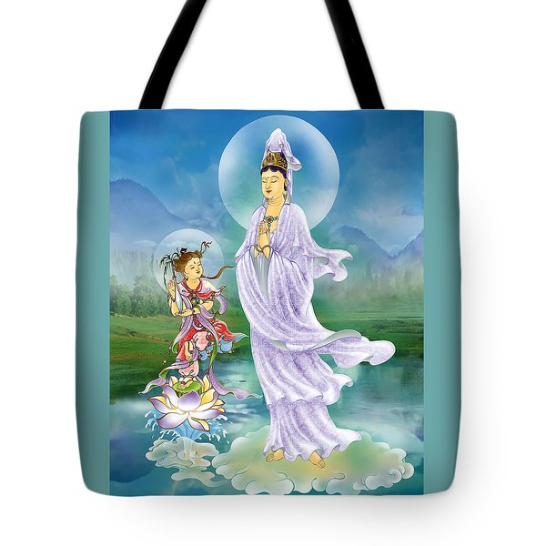 Joining Palms Kuan Yin Tote Bag by Lanjee Chee