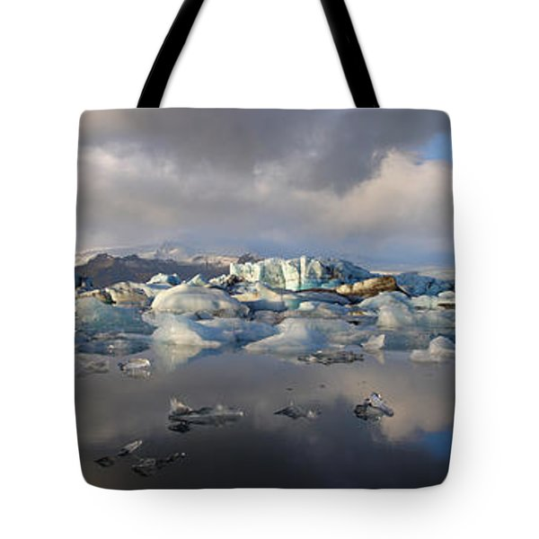 Jokulsarlon Glacier Lagoon Panorama Tote Bag by IPics Photography