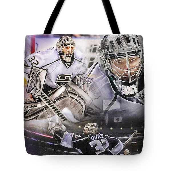 Tote Bag featuring the painting Jonathan Quick Collage by Mike Oulton fe3f184f3