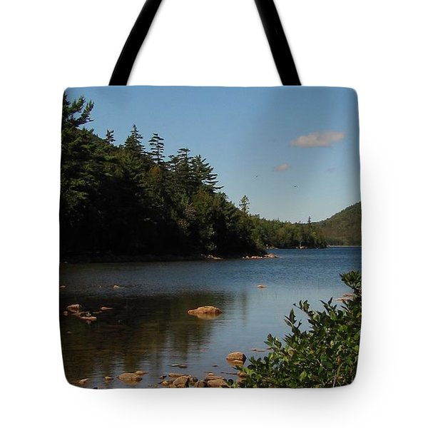 Tote Bag featuring the photograph Jordan Pond Bar Harbor Maine by Jennifer Wheatley Wolf