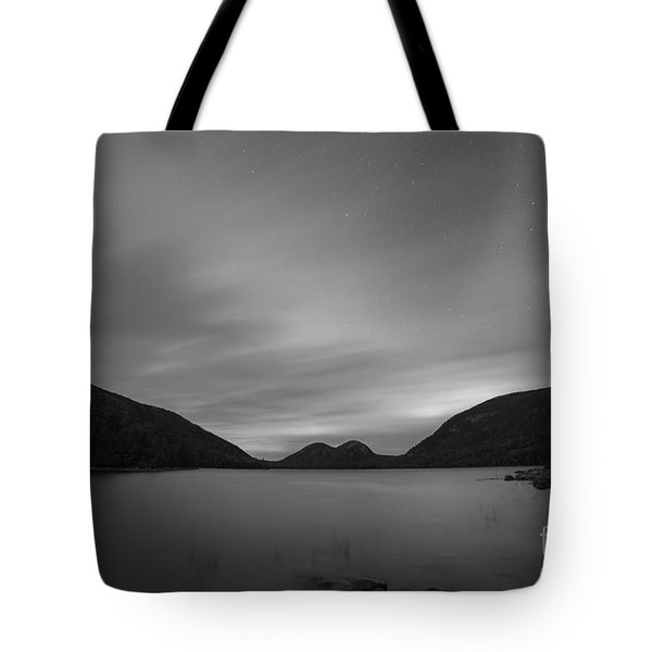 Jordan Pond Blue Hour Bw Tote Bag