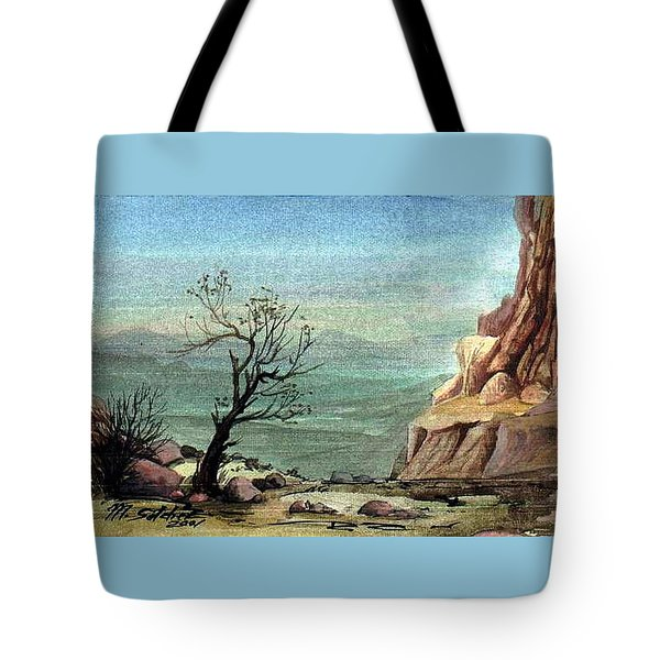 Tote Bag featuring the painting Jordanian Valley by Mikhail Savchenko