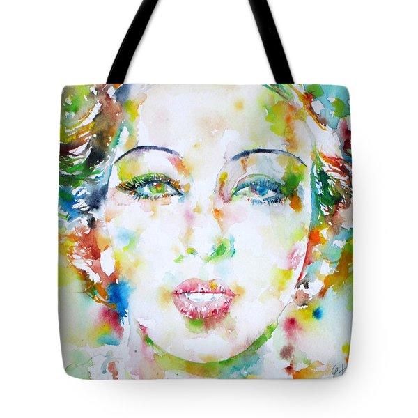 Josephine Baker - Watercolor Portrait Tote Bag by Fabrizio Cassetta
