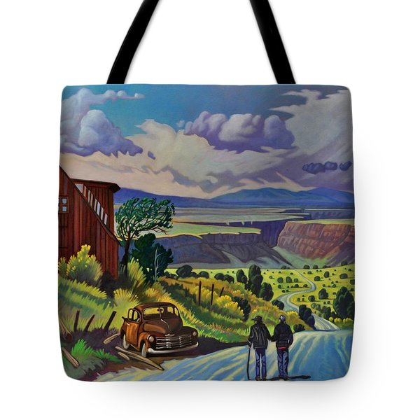 Tote Bag featuring the painting Journey Along The Road To Infinity by Art James West