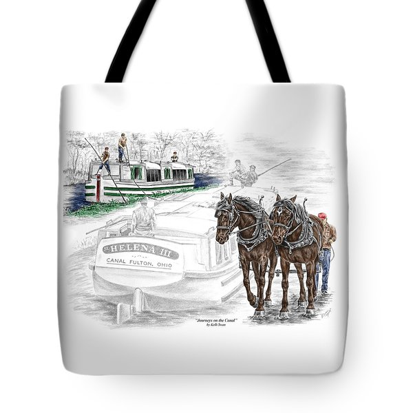 Journeys On The Canal - Canal Boat Print Color Tinted Tote Bag