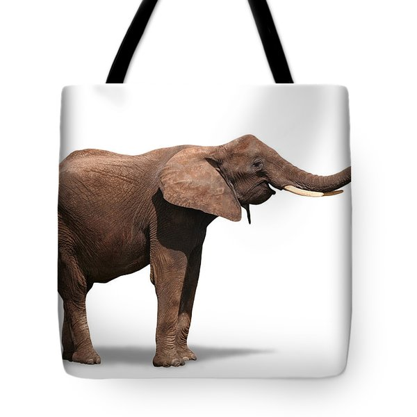 Joyful Elephant Isolated On White Tote Bag