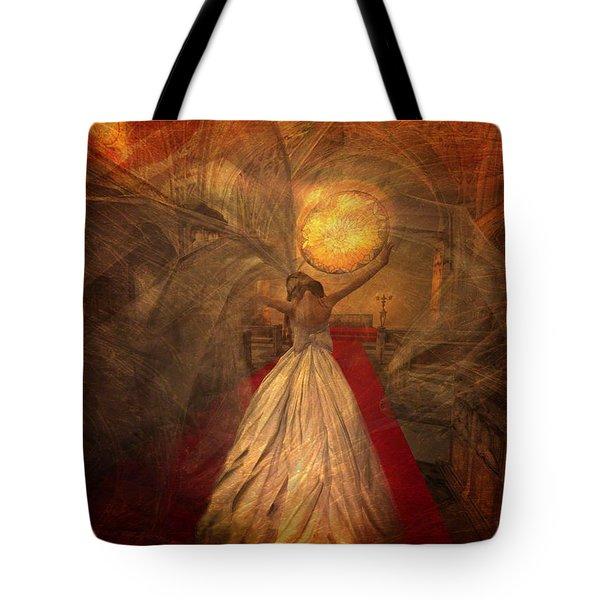 Tote Bag featuring the digital art Joyous Bride by Kylie Sabra