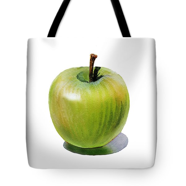 Tote Bag featuring the painting Juicy Green Apple by Irina Sztukowski