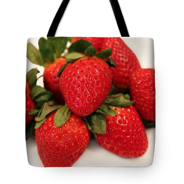 Juicy Strawberries Tote Bag by Barbara Griffin
