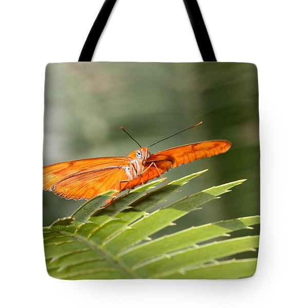 Tote Bag featuring the photograph Julia On A Leaf by Ruth Jolly