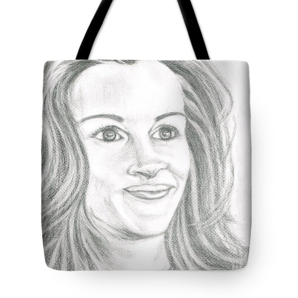 Tote Bag featuring the drawing Julia Roberts by Teresa White
