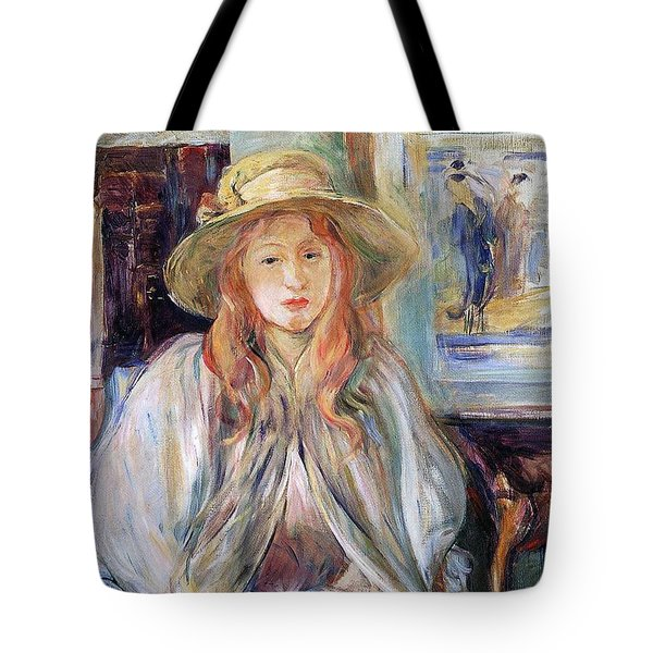 Julie Manet With A Straw Hat Tote Bag by Berthe Morisot