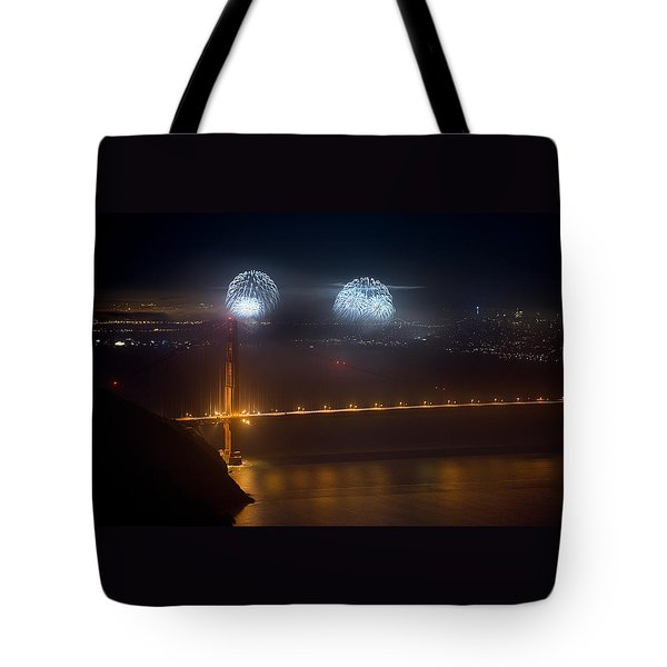 July Fourth Over The Bay Tote Bag by Daniel Furon