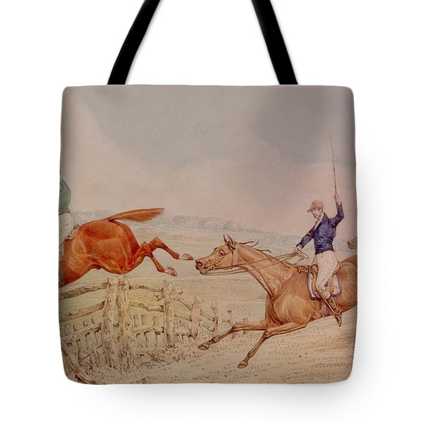 Jumping A Fence Tote Bag by Henry Thomas Alken