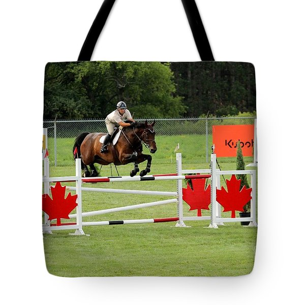 Jumping Canadian Fence Tote Bag