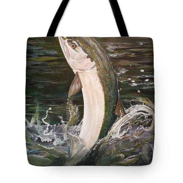 Jumping Steelhead Tote Bag