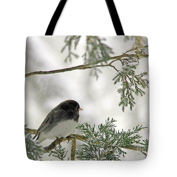 Tote Bag featuring the photograph Junco In Snowstorm by Paula Guttilla