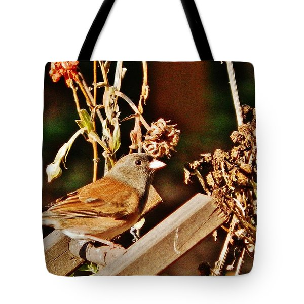 Tote Bag featuring the photograph Junco Jaunt 2 by VLee Watson
