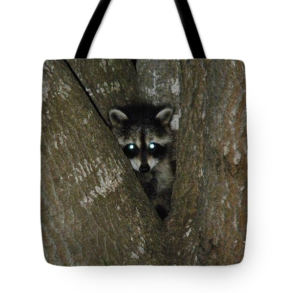 Baby Raccoon And Jesus Tote Bag