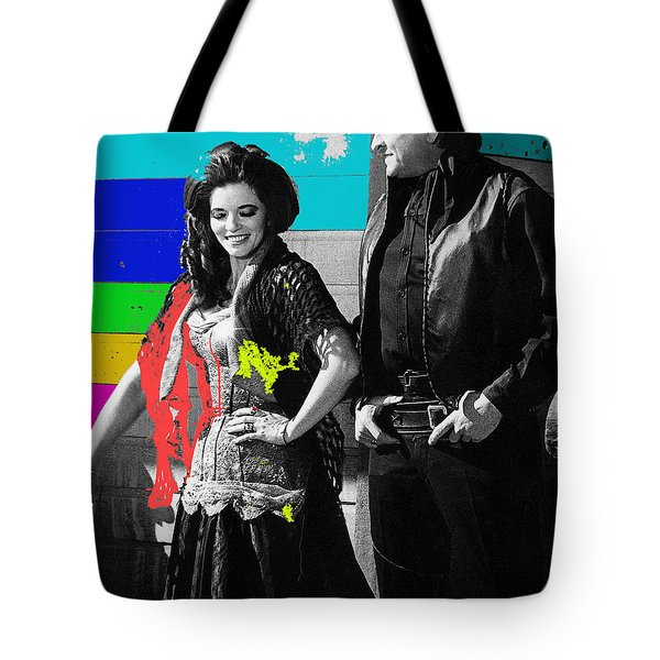 Tote Bag featuring the photograph June Carter Cash Johnny Cash In Costume Old Tucson Az 1971-2008 by David Lee Guss