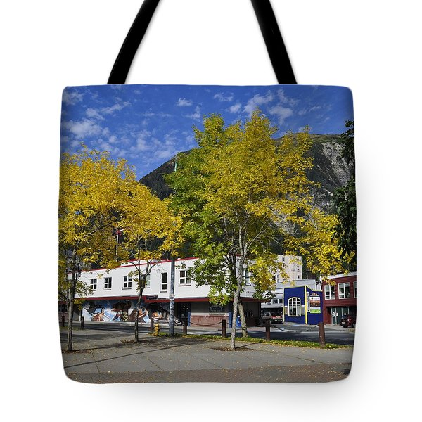Juneau In The Fall Tote Bag by Cathy Mahnke