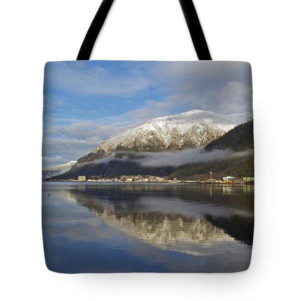 Juneau In Winter Tote Bag by Cathy Mahnke