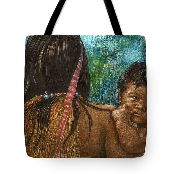 Tote Bag featuring the drawing Jungle Family by Sandra LaFaut