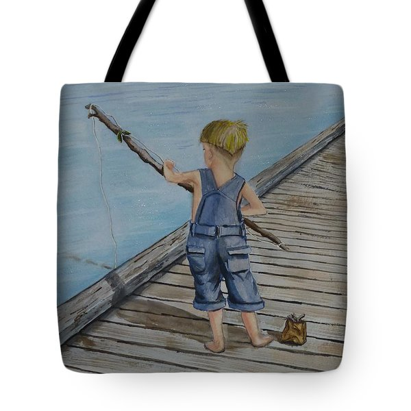 Juniors Amazing Fishing Pole Tote Bag by Kelly Mills
