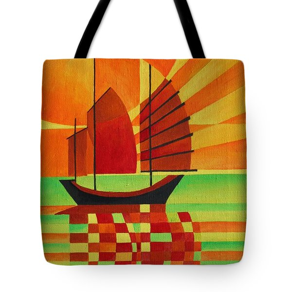 Tote Bag featuring the painting Junk On A Sea Of Green by Tracey Harrington-Simpson