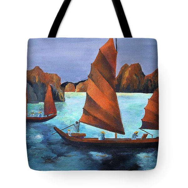 Tote Bag featuring the painting Junks In The Descending Dragon Bay by Tracey Harrington-Simpson