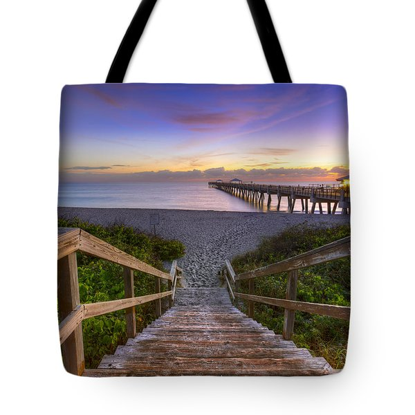 Juno Beach   Tote Bag by Debra and Dave Vanderlaan