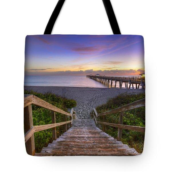 Juno Beach   Tote Bag by Debra and Dave Vanderlaan