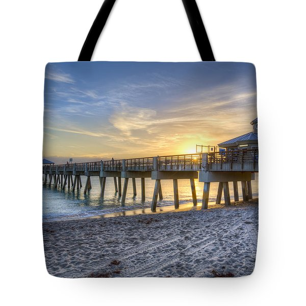 Juno Beach Pier At Dawn Tote Bag by Debra and Dave Vanderlaan