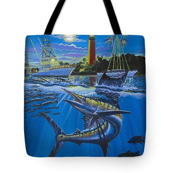 Jupiter Boat Parade Tote Bag by Carey Chen