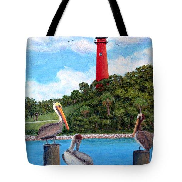 Jupiter Inlet Pelicans Tote Bag