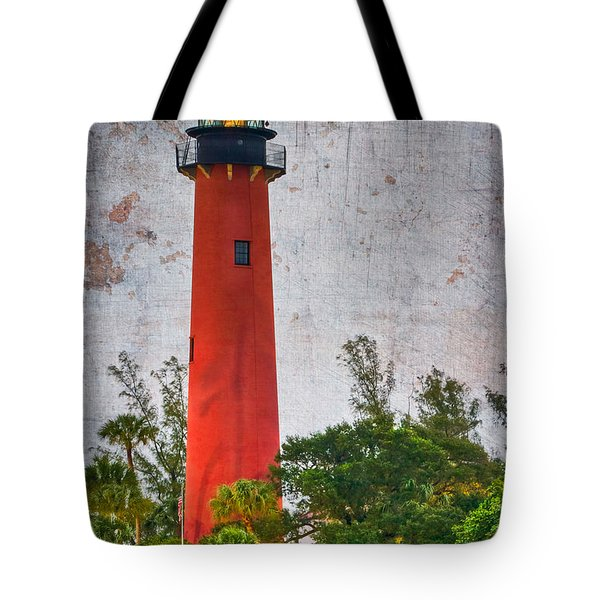 Jupiter Lighthouse Tote Bag by Debra and Dave Vanderlaan